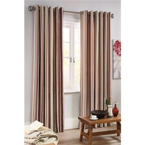 Country Woven Stripe Eyelet Curtains