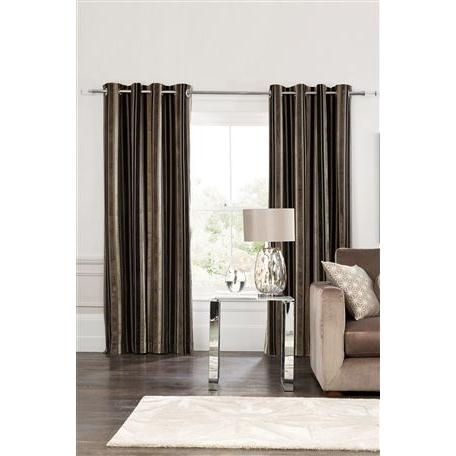 Luxury Velvet Stripe Eyelet Curtains
