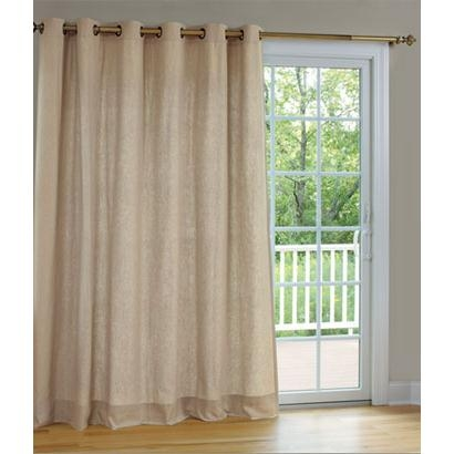 Homespun Linen Lined & Interlined Grommet Patio Panel With Detachable Wand