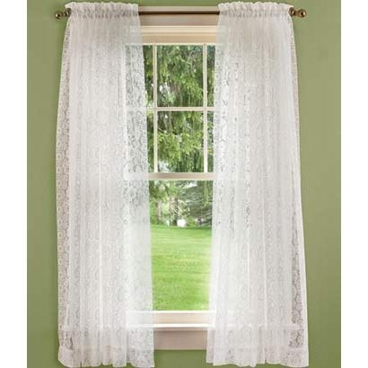 Country Floral Lace Rod Pocket Curtains