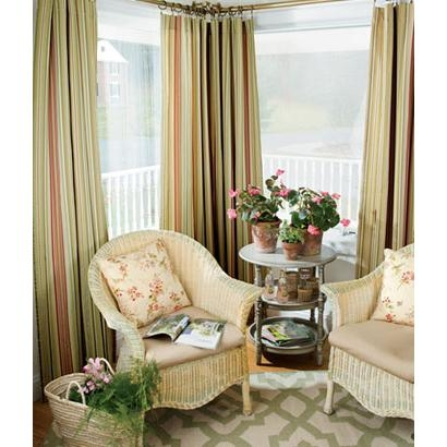 Satin Stitch Stripe Lined Rod Pocket Curtains