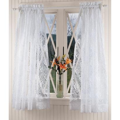 Country Floral Lace Tier Curtains
