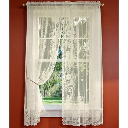Floral Point Lace Rod Pocket Curtains