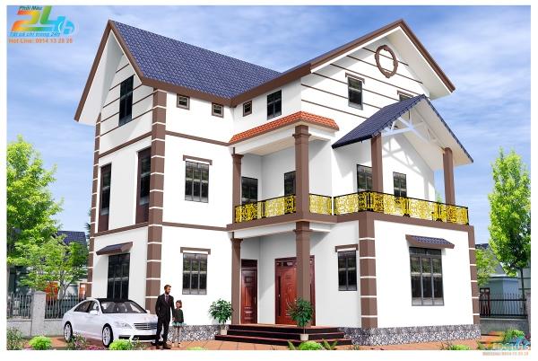 Phối màu sơn 3D nhà 2 tầng màu trắng