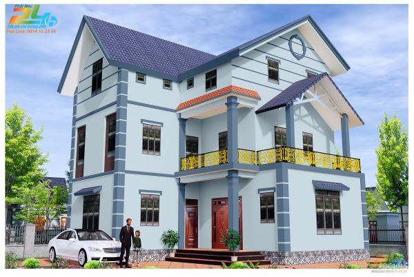 Phối màu sơn xanh cho nhà 2 tầng