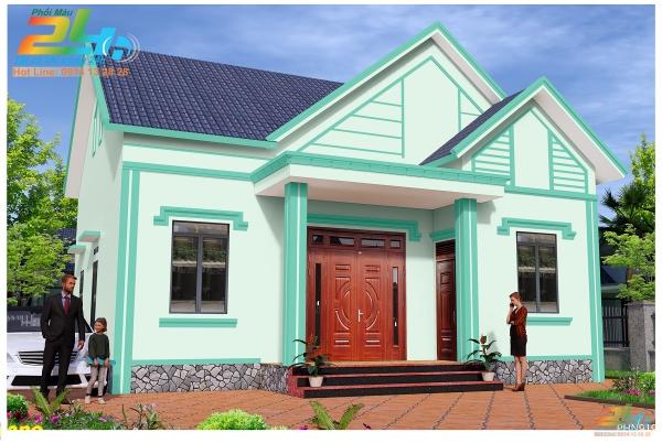 Phối màu sơn 3D nhà phố 1 tầng mẫu 16