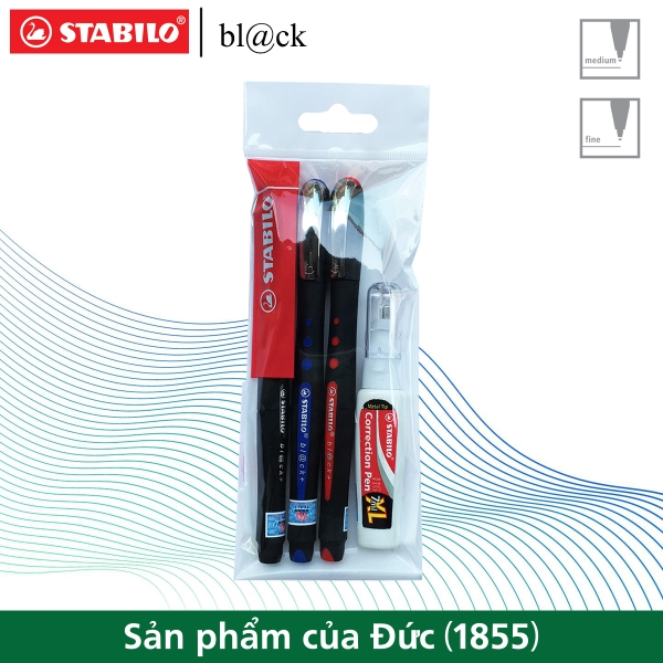 bo-3-but-bi-ky-stabilo-bl-ck-m-1-0mm-xanh-do-den-but-xoa-stabilo-cps88-blkm-c3