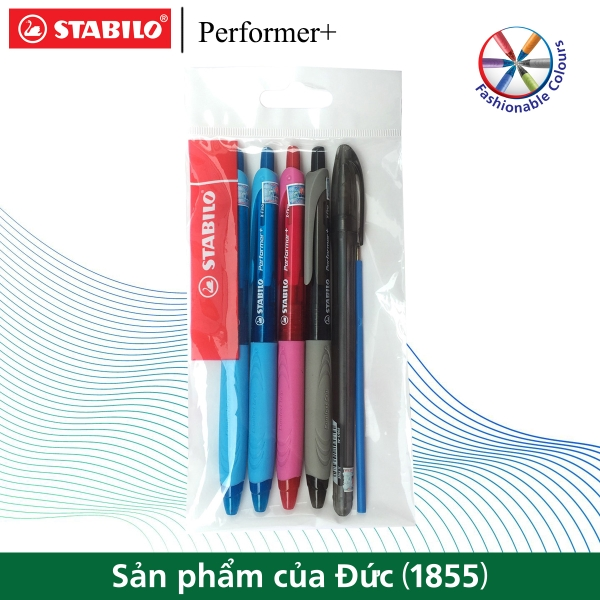 bo-4-cay-but-bi-bam-stabilo-performer-xf-0-5mm-2-xanh-den-do-ruot-but-bp328r-xan
