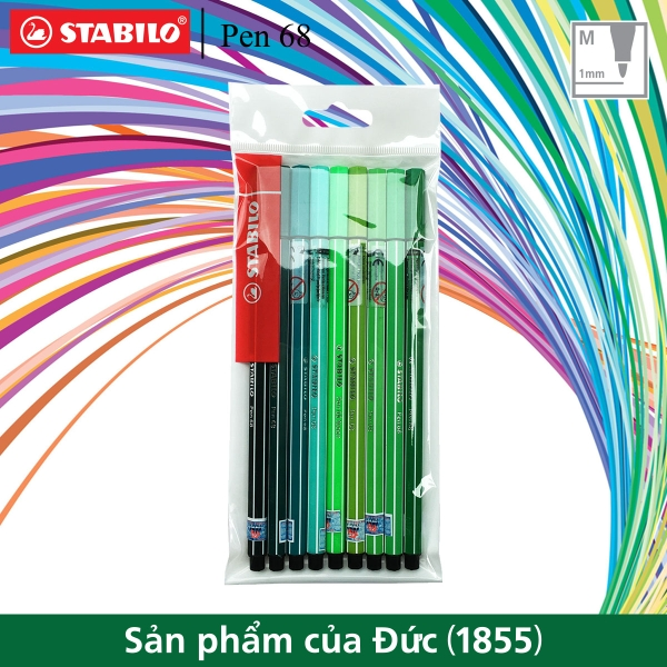 bo-9-but-long-stabilo-pen-68-1-0mm-tong-mau-xanh-la-pn68-gn-c9