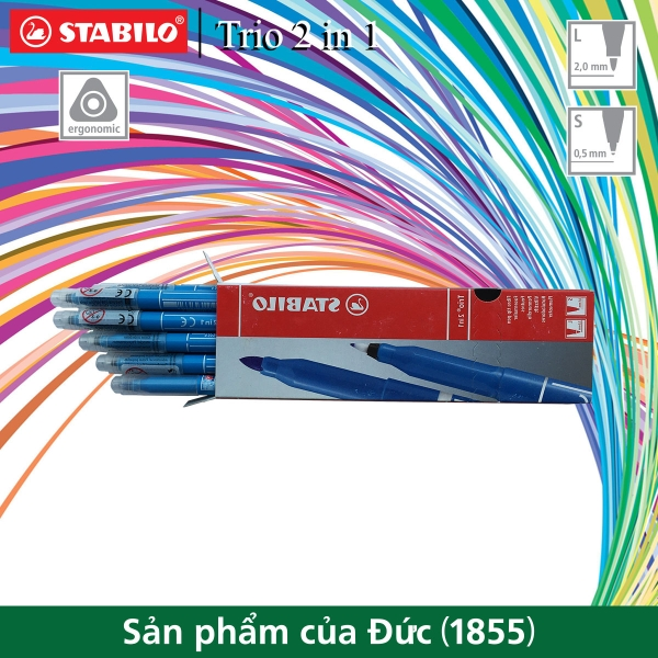 hop-10-but-long-mau-2-dau-stabilo-trio-2-in-1-xanh-nhat-tr223-10