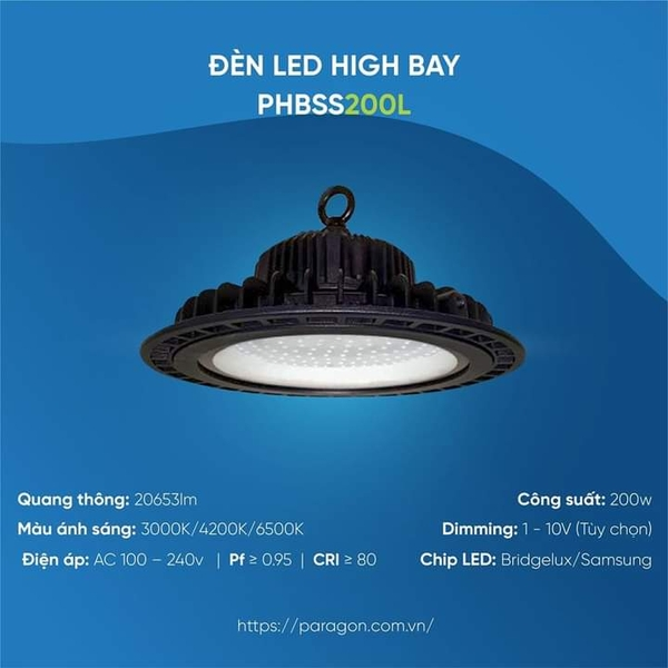 Đèn LED HighBay 200W PHBSS200L