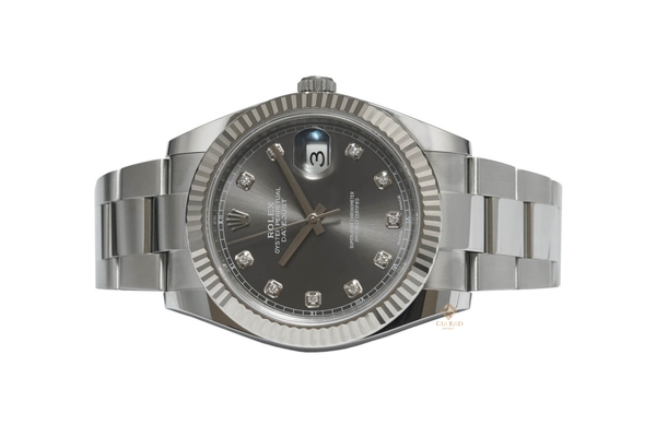 Rolex Datejust 41 126334 Dark Rhodium With Diamonds Oyster Bracelet
