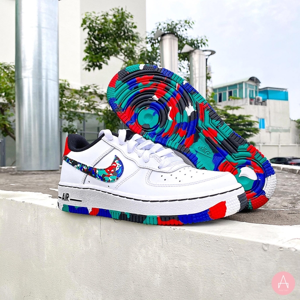 [CU4632-100] K NIKE AIR FORCE 1 LOW CRAYON WHITE MULTI