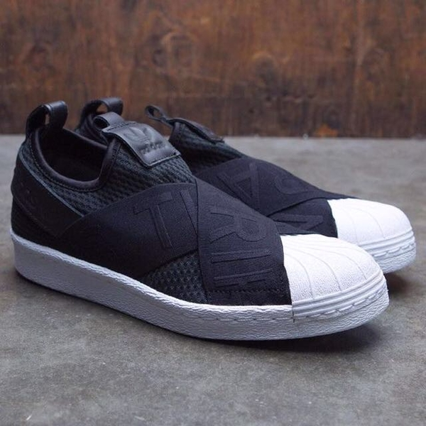 [CQ2382] W ADIDAS SUPERSTAR SLIP ON BLACK WHITE