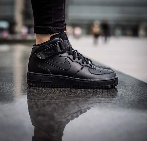 [315123-001] M NIKE AIR FORCE 1 MID ALL BLACK