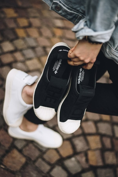 [CQ2517] W ADIDAS SUPERSTAR SLIP ON BLACK WHITE