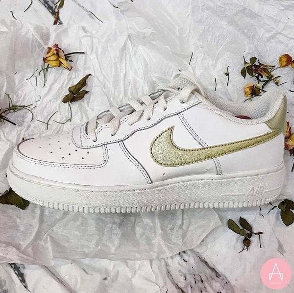 [314219-127] K NIKE AIR FORCE 1 YELLOW SWOOSH