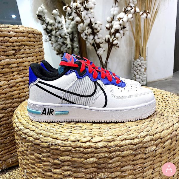 [CD6960-101] K NIKE AIR FORCE 1 REACT WHITE/ASTRONOMY BLUE