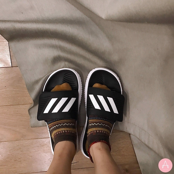 [BA8775] M ADIDAS ALPHABOUNCE BASKETBALL SLIDES BLACK WHITE