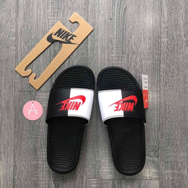 [343880-006] M NIKE BENASSI JDI BLACK WHITE SWOOSH RED