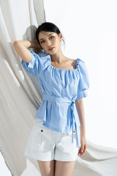 Baby doll top with belt