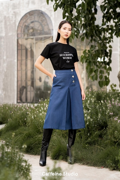 3 button denim midi skirt