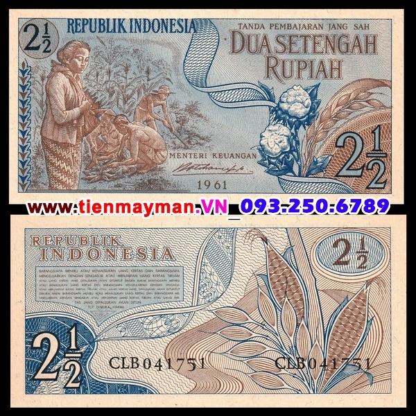 Tiền giấy Indonesia 2 1/2 Rupiah 1961