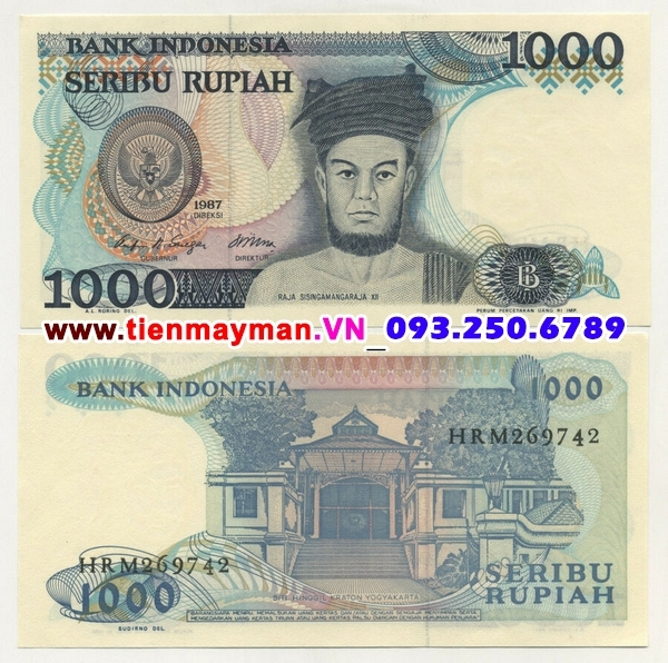 Tiền giấy Indonesia 1000 Rupiah 1987 UNC