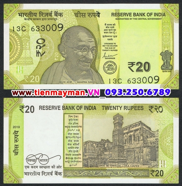Tiền giấy India 20 Rupee 2019 UNC