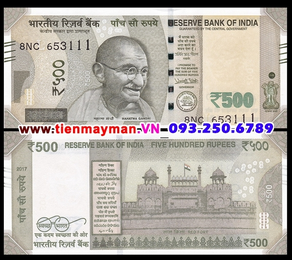 Tiền giấy India 500 Rupee 2017 UNC