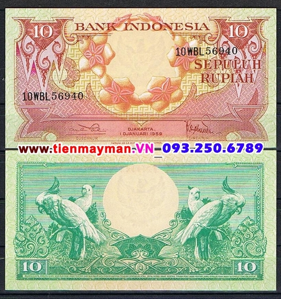 Tiền giấy Indonesia 10 Rupiah 1959 UNC