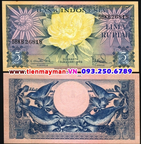 Tiền giấy Indonesia 5 Rupiah 1959 UNC