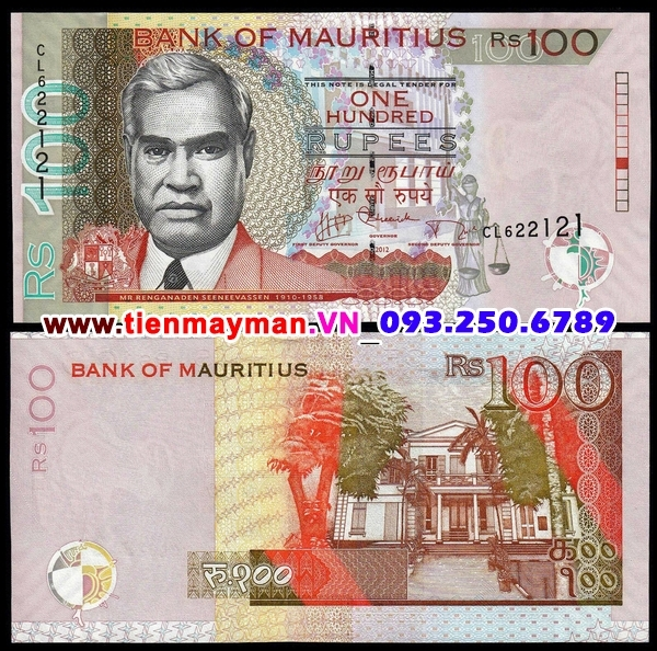 Tiền giấy Mauritius 100 Rupees 2012 UNC