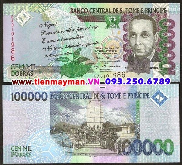 Tiền giấy Saint Thomas and Prince 100000 Dobras 2005 UNC