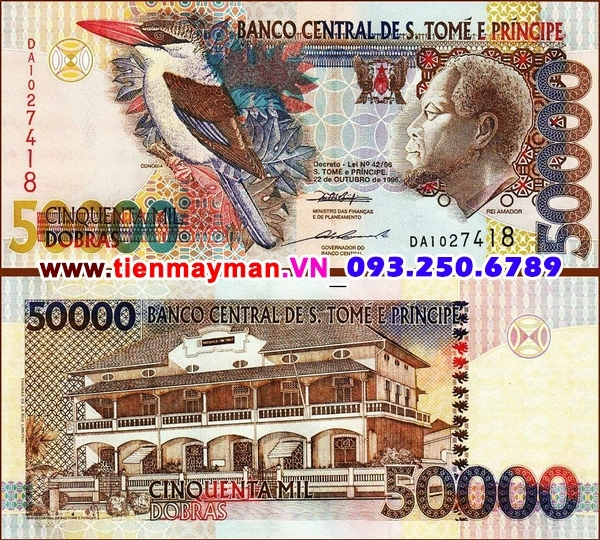 Tiền giấy Saint Thomas and Prince 50000 Dobras 2004 UNC