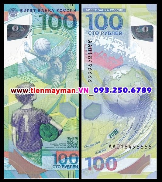 tiền Russia 100 Rubles Nga Kỷ Niệm World Cup 2018