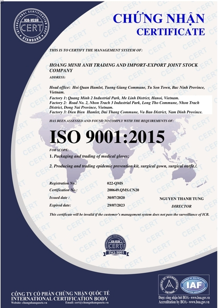 ISO 9001: 2015 - Certificate of gloves and gown manufacturing and business