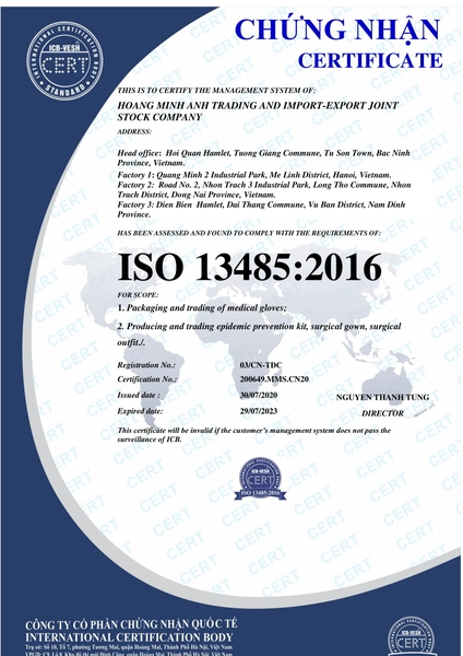 ISO 13485: 2016 - Certificate of gloves and gown manufacturing and business