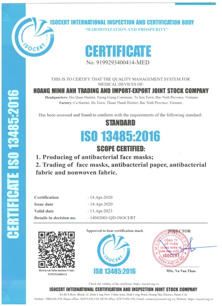 ISO 13485: 2016 - Certification of face mask manufacturing business