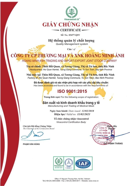 ISO 9001: 2015 - Certification of face mask manufacturing business