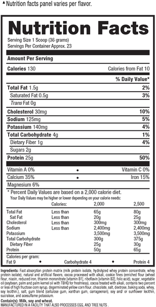 ISO HD Nutrition Facts