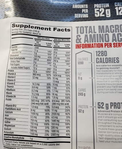 Nutrition Facts Super Mass Gainer