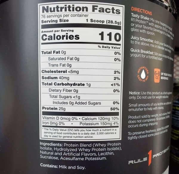 Nutrition Facts Rule 1 Protein