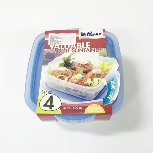 Hộp Thực Phẩm Picnic Valuable Food Container 16oz. 500ml. 4cái