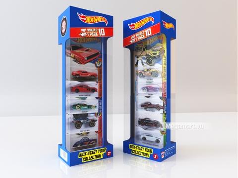Hot Wheels Bộ 10 siêu xe cơ bản với hình ảnh từ bên ngoài