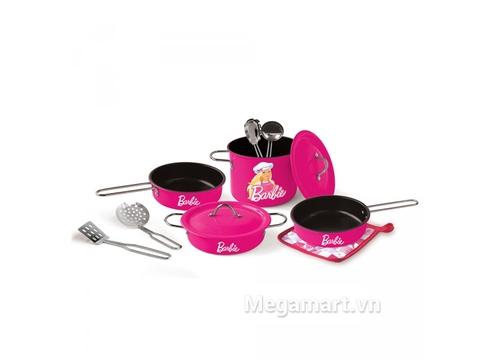 Barbie Bộ 11 dụng cụ nấu ăn Barbie hồng sen được làm từ chất liệu cao cấp