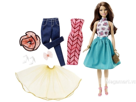 Barbie Bộ sưu tập thời trang sáng tạo - Váy xanh gồm nhiều chi tiết đẹp