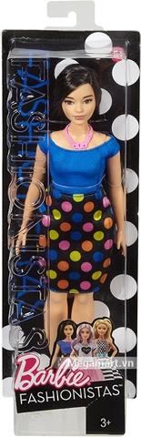Barbie Fashionistas - Dáng mập váy chấm bi - Vỏ hộp sản phẩm từ bên ngoài