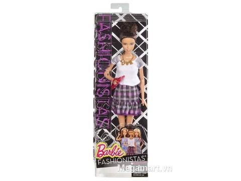 Hộp đựng Barbie Fashionistas - Váy caro tím