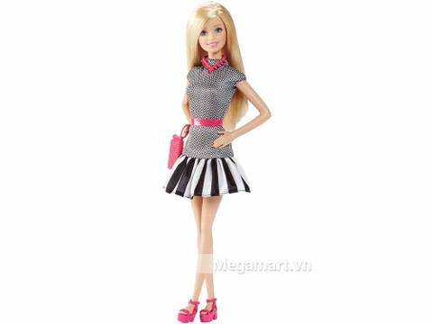 Barbie Fashionistas - Váy họa tiết đen trắng với diện mạo thời thượng